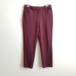 WHBM The Slim Ankle pants maroon career work sz 8